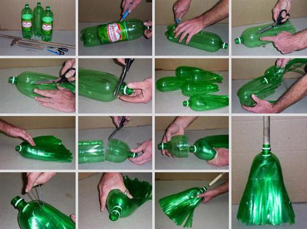 בקבוק פלסטיק הפך למטאטא