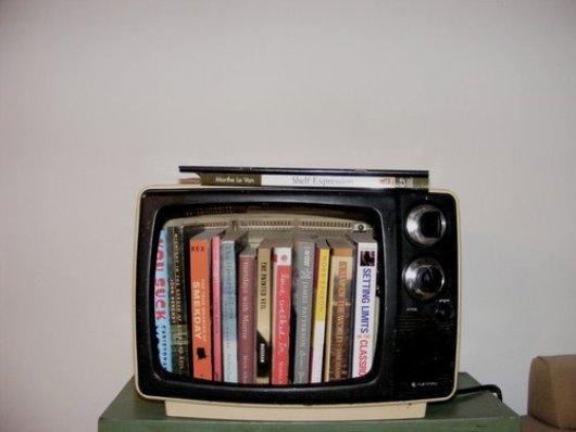 טלוויזיה ישנה הפכה למדף ספרים