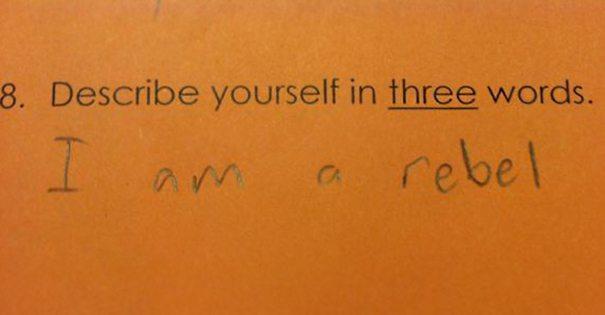 """""""תאר את עצמך בשלוש מילים"""" (המרד מתחיל בגיל צעיר)"""