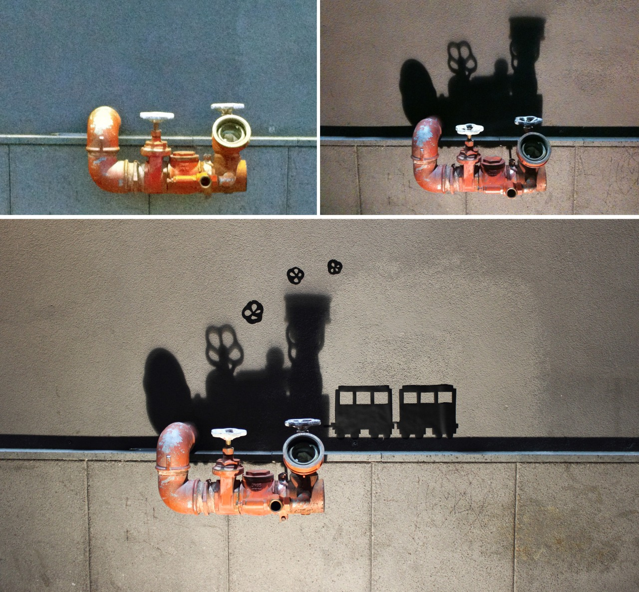 צל של ברז שהפך לרכבת קיטור. יצירה של אמן הרחוב האיטלקי VladyArt