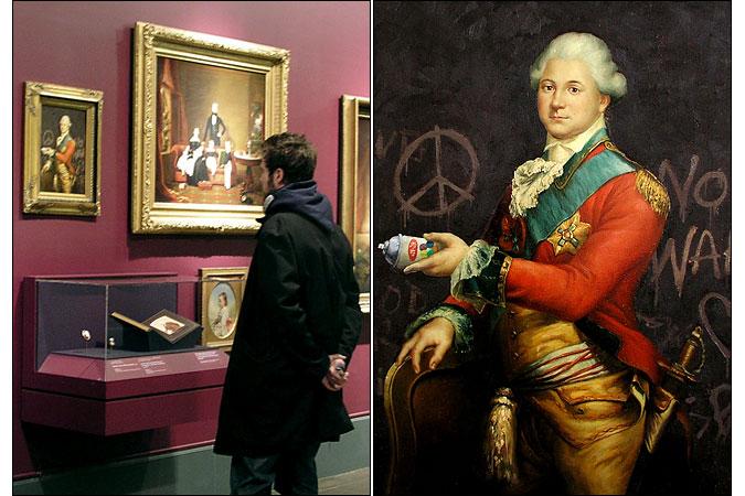 קצין צבא מהתקופה הקולוניאלית על רקע גרפיטי אנטי מלחמתי. הציור שנתלה במוזיאון ברוקלין